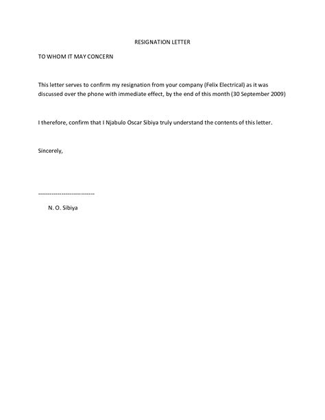 Resignation Letter For Immediate Effect resignation letter letter of resignation sle no notice