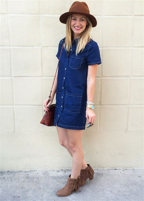 fall style staple denim dress livvyland austin