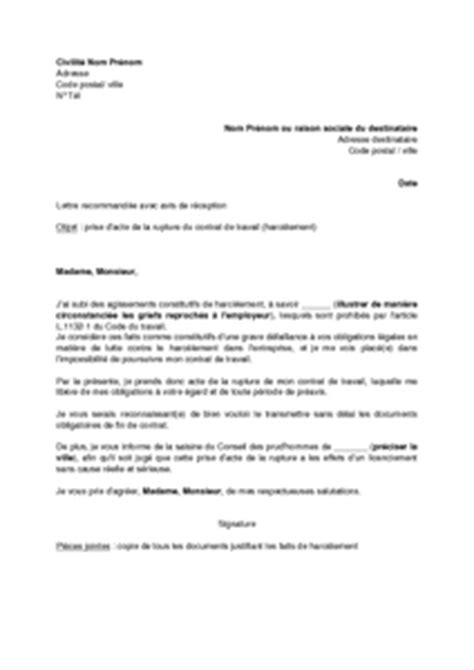 Exemple De Lettre De Demission Pour Harcelement Moral Modele Attestation Harcelement Moral Document