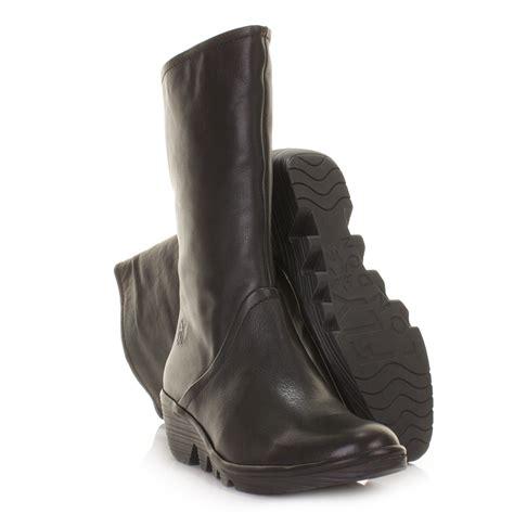 fly womens boots mid calf wedge heel pama black