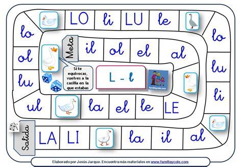 lecturas del juego de 8467507578 juegos de la oca para aprender a leer s 237 labas directas e inversas con la letra l lecto