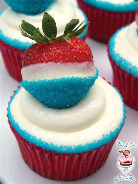 bird on a cake red white and blue strawberry cupcakes