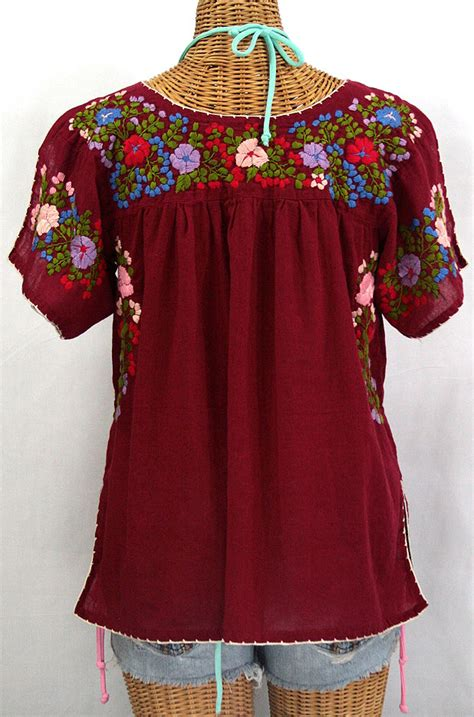 Hq 18281 Flower Embroidered Blouse Black mexican style blouse collar blouses