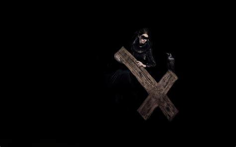 wallpaper dark cross dark horror fantasy gothic cross evil woemn raven birds