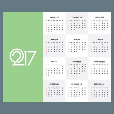 Calendar 2018 Tabs Calendar For The Year 2017 With A Green Tab Vector Free