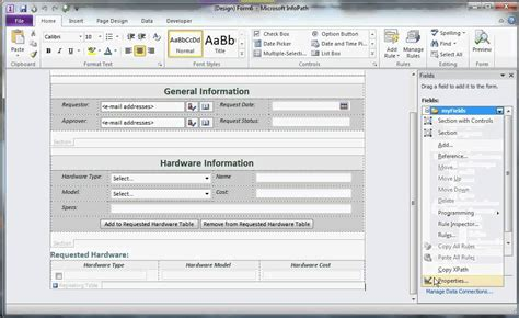 create and design form in ms infopath 2010 part 1 youtube