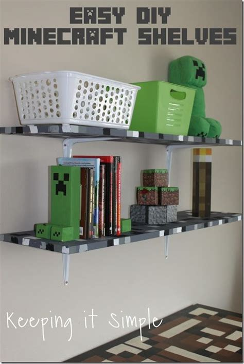 minecraft bedroom idea easy diy minecraft shelves