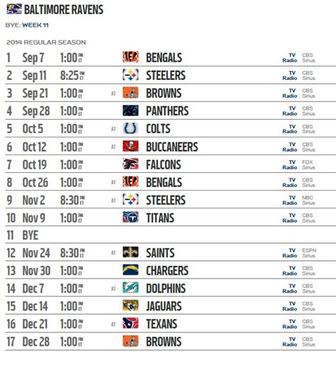 printable ravens schedule baltimore ravens 2014 team schedule live stream tickets
