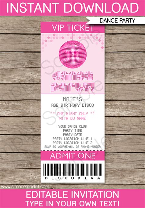 dance party ticket invitations template pink ball