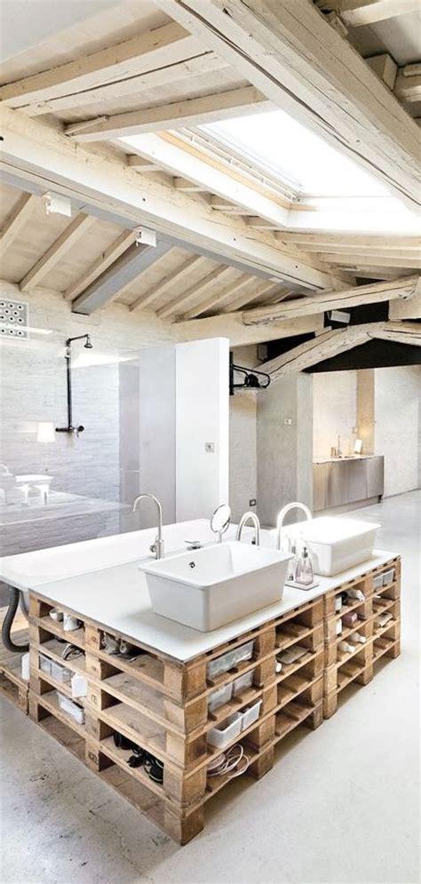 Pallet Base Vanity Blonde Wood Beams And Skylight Pallet Bathroom Vanity