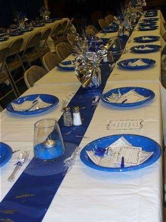 blue and silver Dinner Party Party Ideas   reception set