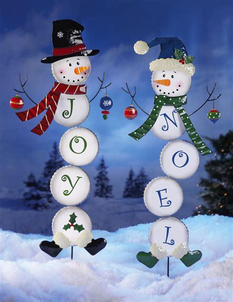 joy or noel holiday snowman lawn yard stake garden
