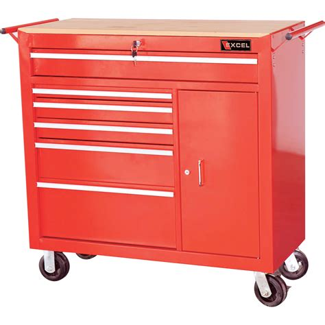 excel 41in roller cabinet 6 drawers model tbr4108 red