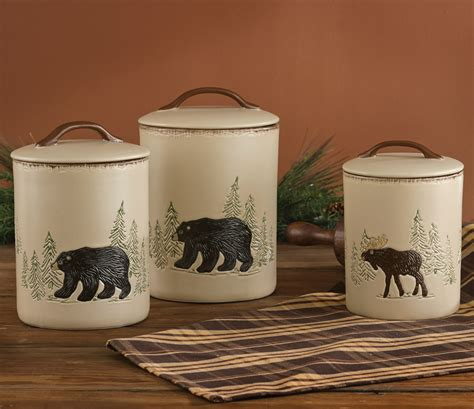 Black Canister Sets For Kitchen by Bear Amp Moose Stoneware Canister Set 3 Pcs