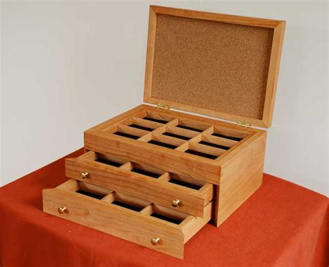 custom cherry wood jewelry box w hinged lid handmade in