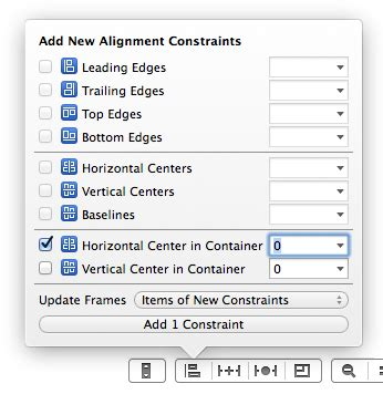 auto layout align menu autolayout in interface builder xcode 5 1