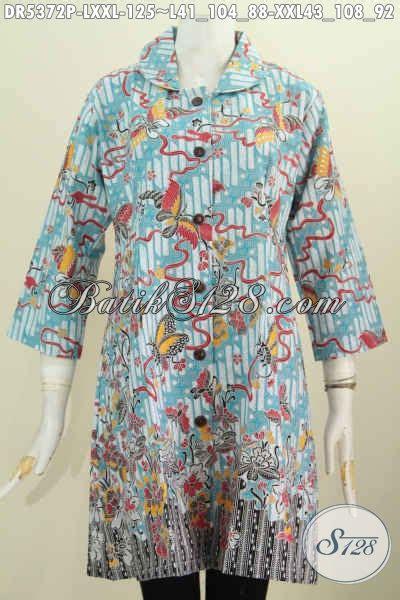 Baju Batik Warna Biru Muda baju dress halus motif bunga dan kupu warna biru muda pakaian batik kerah bulat kwalitas