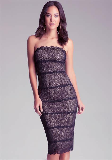 Dress Lace Import 1 lyst bebe strapless lace midi dress in black