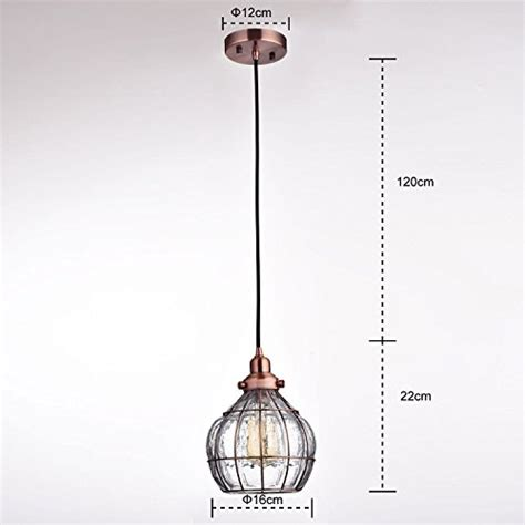 Yobo Lighting Vintage Cracked Glass Rustic Wire Ceiling Cracked Glass Pendant Light