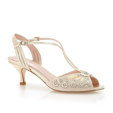 Blush Low Heel Wedding Shoes by Buy The Stylish Ella Gold Bridal Shoes Emmy
