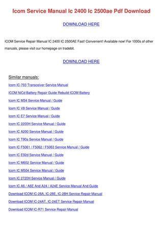Icom Service Manual Ic 2400 Ic 2500ae Pdf Dow By Ngan