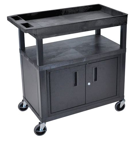 Three Shelf Cart by Luxor Ec122c B Three Shelf Utility Cart
