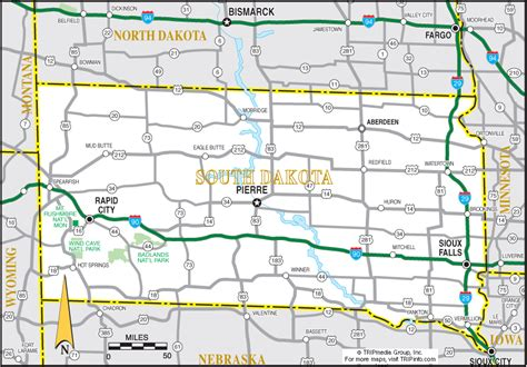 printable south dakota road map south dakota map