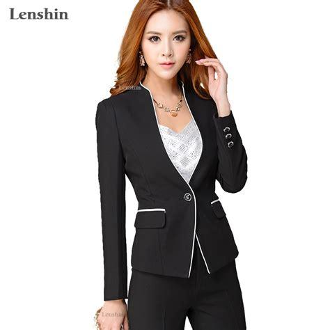 female working suits 2015 lenshin 2 pieces set formal pant suit women office lady