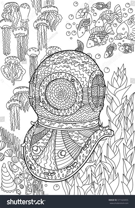 coloring pages for adult in zenart style antistress coloring page underwater antique divers helmet sea bottom stock vector