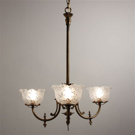 Antique Gas Chandelier Spectacular Antique Aesthetic Movement Gas Chandelier With Original Glass Shades C 1880