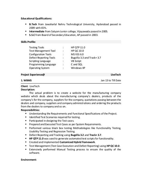 Manual Testing Resume by Sle Manual Testing Resume Resume Ideas