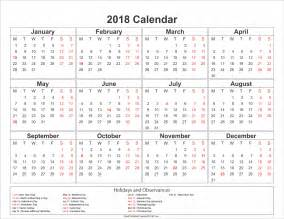 Calendar 2018 Pdf With Holidays Free Printable Calendar 2018