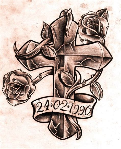 cross with a banner tattoo designs cross with roses and ribbon design designs