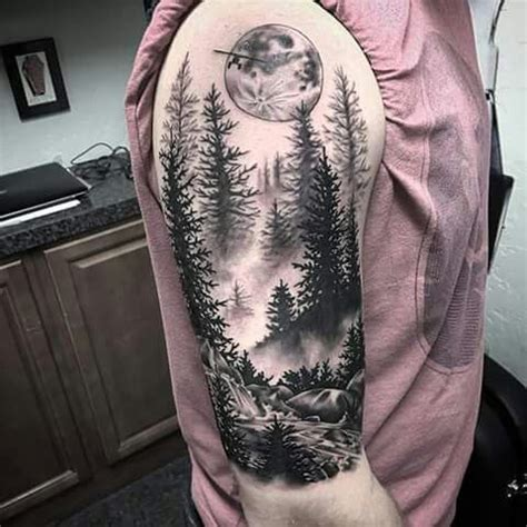 iron wolf tattoo forest half sleeve by justin cunningham at iron wolf