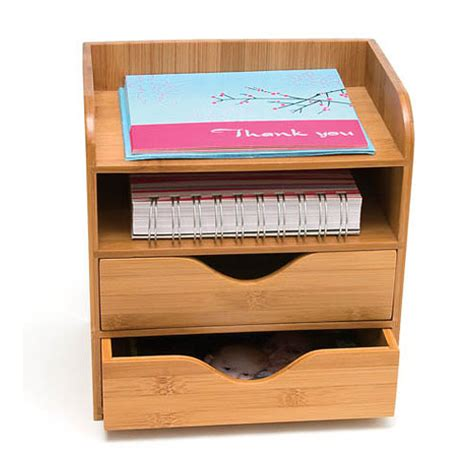 Bamboo Four Tier Desk Organizer In Desktop Organizers Small Desk Organizer