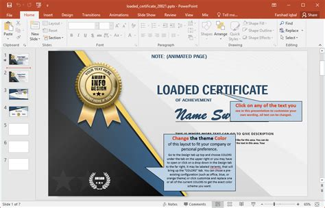 Animated Certificate Powerpoint Template Free Editable Powerpoint Templates
