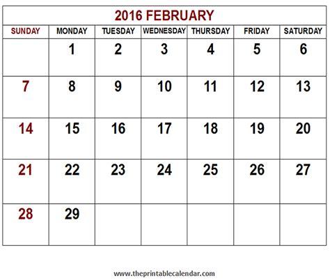 Calendar Printable 2016 February Printable 2016 February Calendar