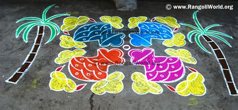 Car Kolam search results for rangoli with dots for pongal