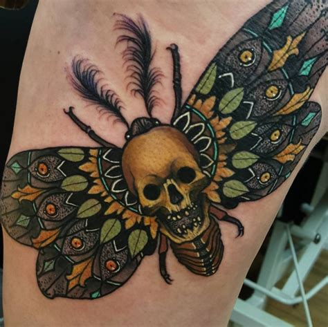 beautiful death moth tattoo by elliot wells done with the