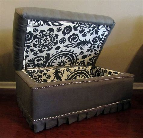 how to reupholster a storage bench reupholstered ottoman great idea i prefer these hinges to