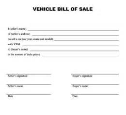 Bill Of Sale Vehicle Template by Vehicle Bill Of Sale Form Templatezet