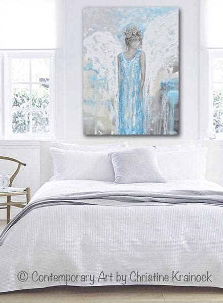 Light Blue Home Decor Original Abstract Painting Guardian Wings Blue Wall Decor Contemporary By