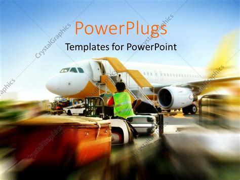 ppt aviation themes powerpoint template blurred depiction of plane waiting in
