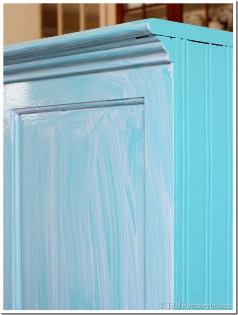 Milk Painted Kitchen Cabinets before and after furniture makeover in turquoise in my