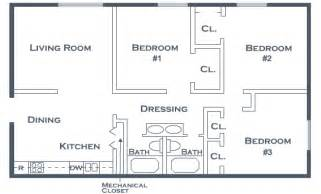 three bedroom two bathroom floor plan pine view