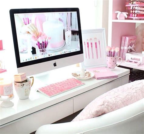 pink and white desk dreaming of this pink white office such great inspiration