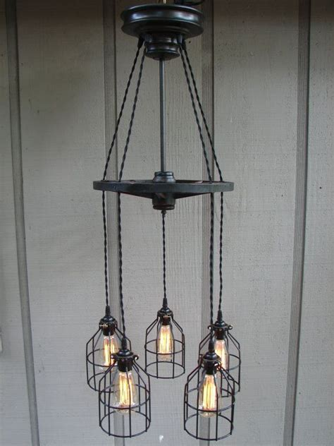 Filament Light Bulb Chandelier Upcycled Antique Buggy Wheel 5 Light Filament Bulb Chandelier