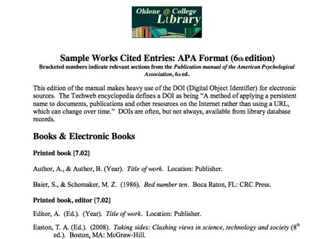 how to do a work cited page apa format