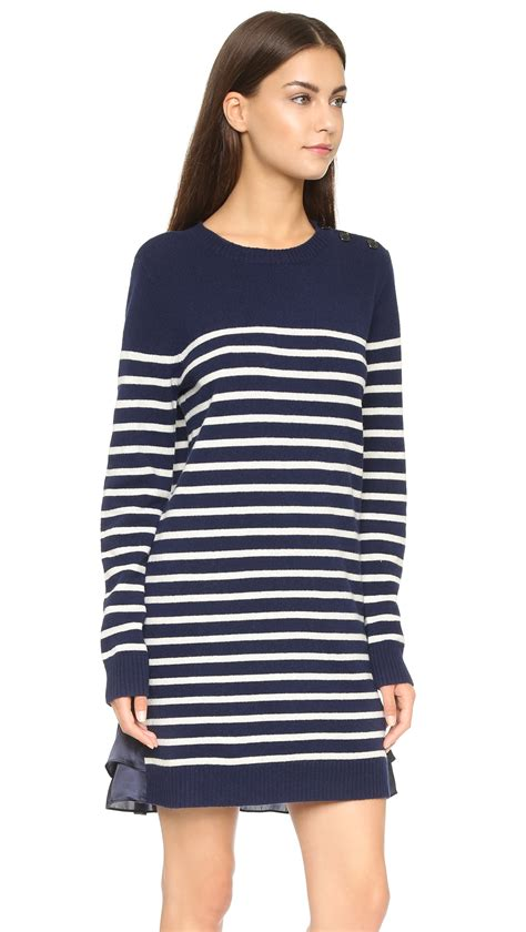 Sweater Marsmellow Navy Blue lyst clu marine striped sweater dress navy in blue