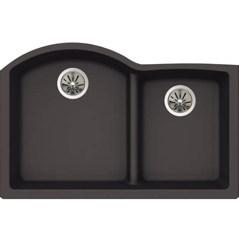 Elkay Premium Quartz Undermount Composite 33 In Double Bowl Kitchen Sink In Charcoal Elkay Schock Sink Template